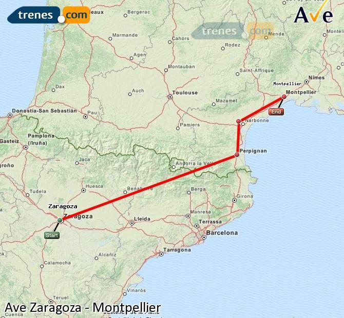 Ampliar mapa AVE Zaragoza Montpellier