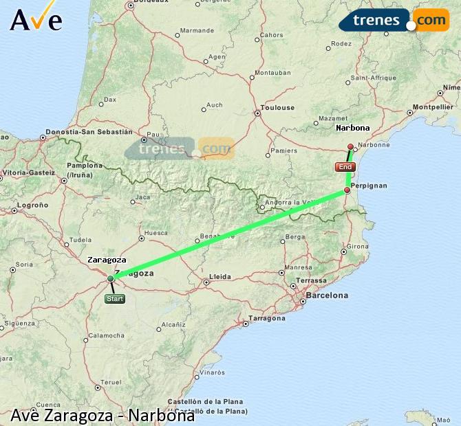 Agrandir la carte AVE Zaragoza Narbona