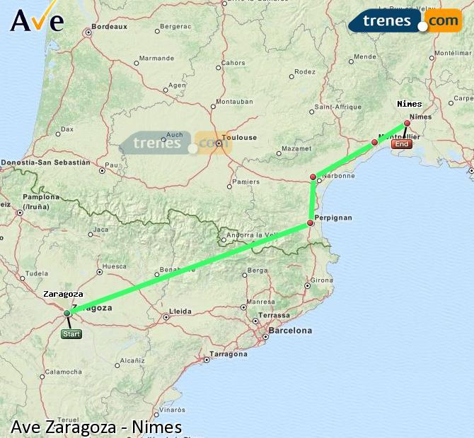 Agrandir la carte AVE Zaragoza Nimes
