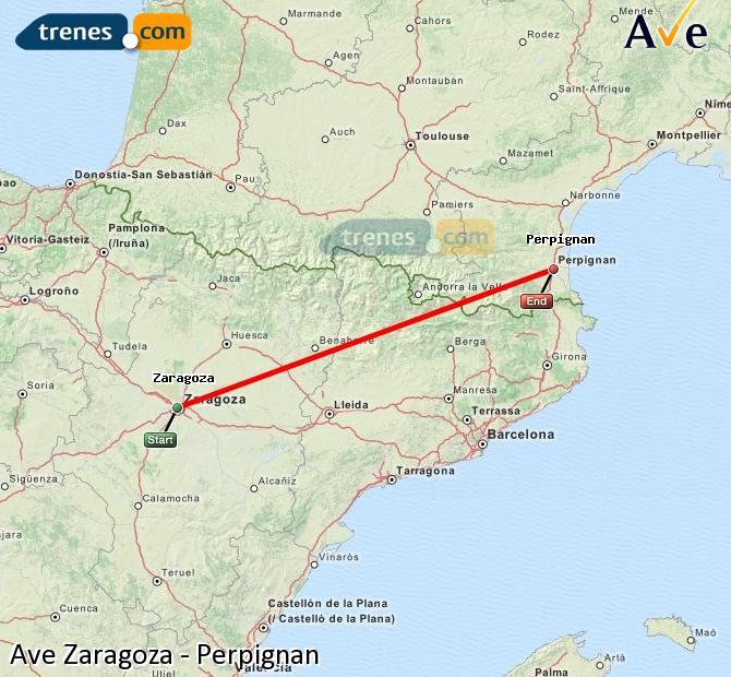 Karte vergrößern AVE Zaragoza Perpignan