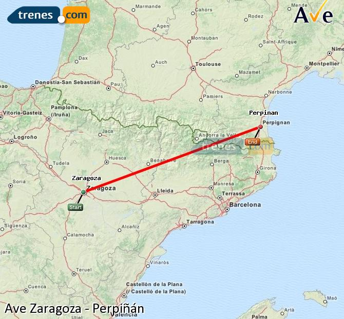 Agrandir la carte AVE Zaragoza Perpiñán