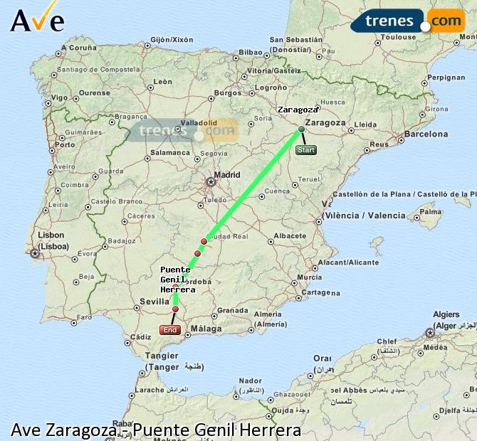 Agrandir la carte AVE Zaragoza Puente Genil Herrera