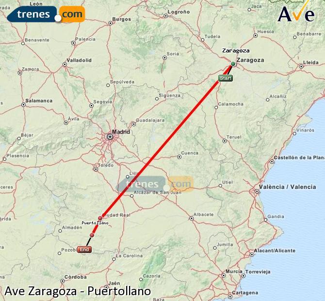 Ampliar mapa AVE Zaragoza Puertollano