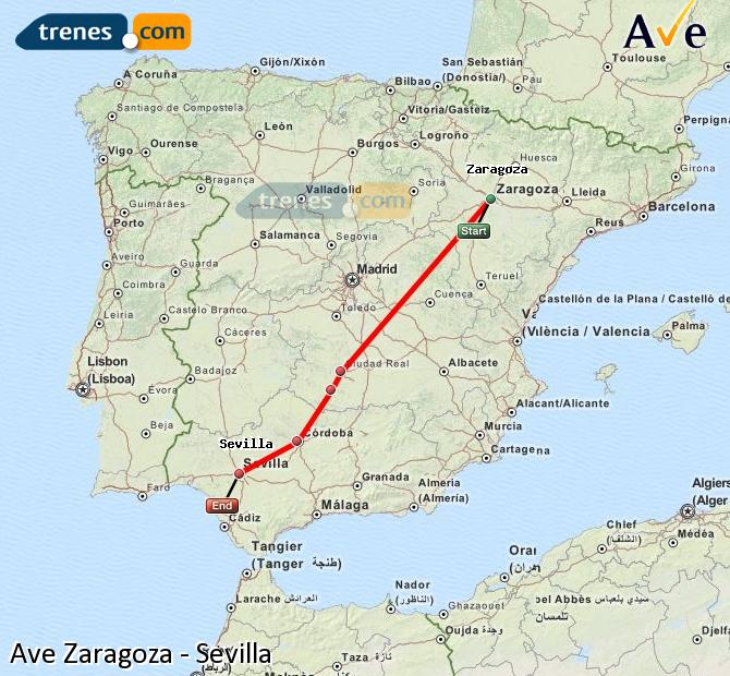 Ampliar mapa AVE Zaragoza Sevilla