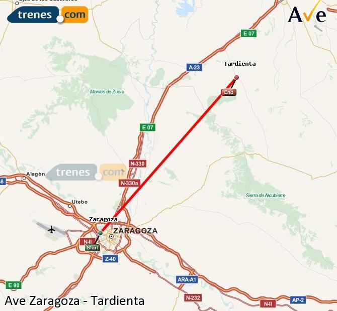 Ampliar mapa AVE Zaragoza Tardienta