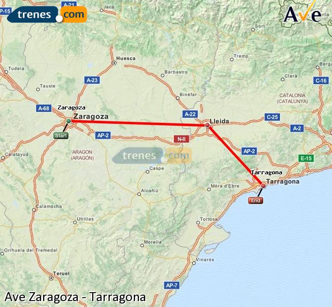 Enlarge map AVE Zaragoza to Tarragona