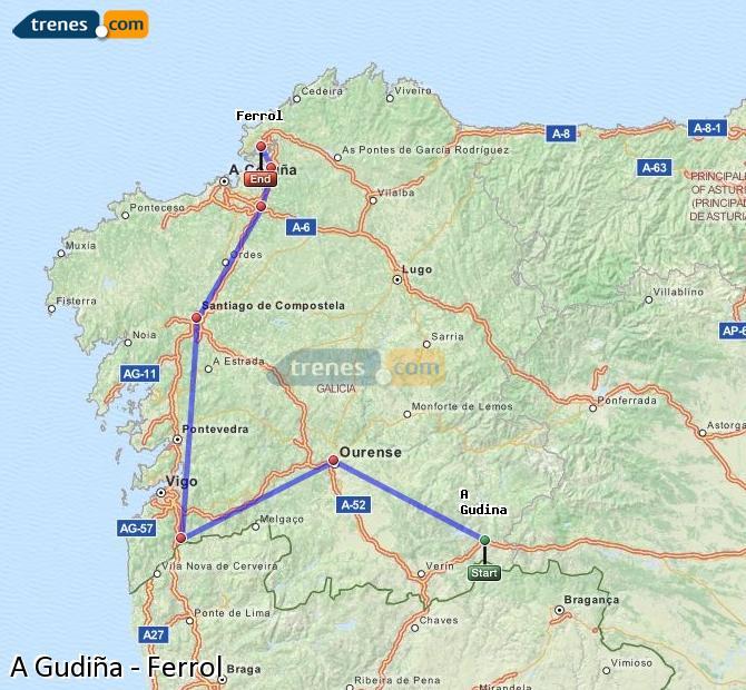 Karte vergrößern Züge A Gudiña Ferrol