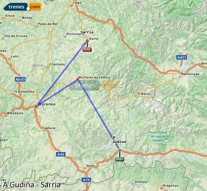 Ampliar mapa Comboios A Gudiña Sarria