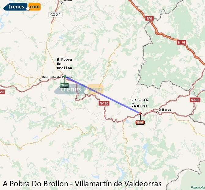 Enlarge map Trains A Pobra Do Brollon to Villamartín de Valdeorras