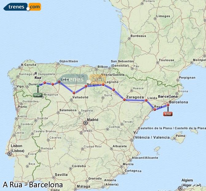 Karte vergrößern Züge A Rua Barcelona