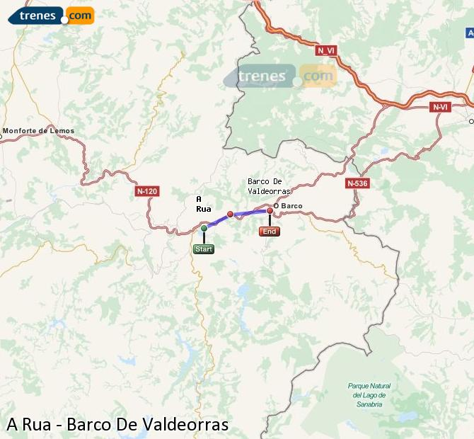 Ampliar mapa Trenes A Rua Barco De Valdeorras