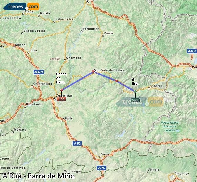 Ampliar mapa Comboios A Rua Barra de Miño