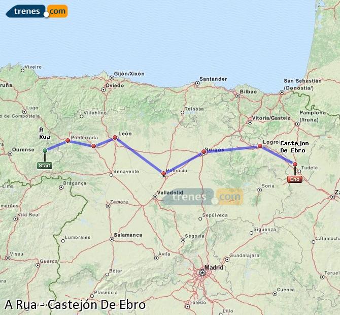Agrandir la carte Trains A Rua Castejón De Ebro