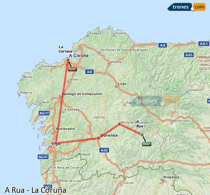 Ampliar mapa Comboios A Rua La Coruña