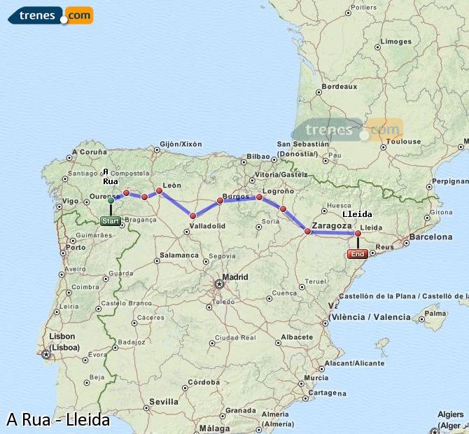 Agrandir la carte Trains A Rua Lleida