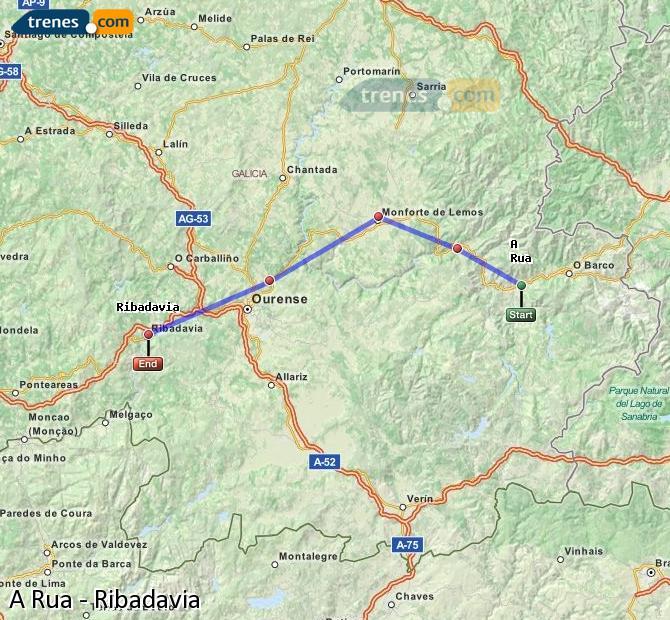 Enlarge map Trains A Rua to Ribadavia