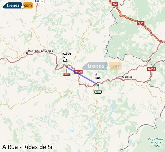 Ingrandisci la mappa Treni A Rua Ribas de Sil