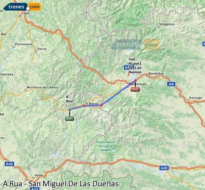 Agrandir la carte Trains A Rua San Miguel De Las Dueñas