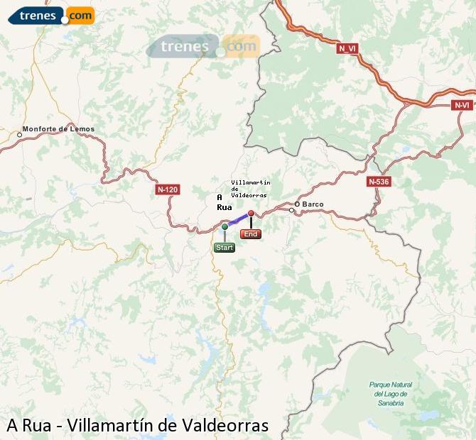 Enlarge map Trains A Rua to Villamartín de Valdeorras