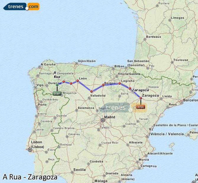 Agrandir la carte Trains A Rua Zaragoza