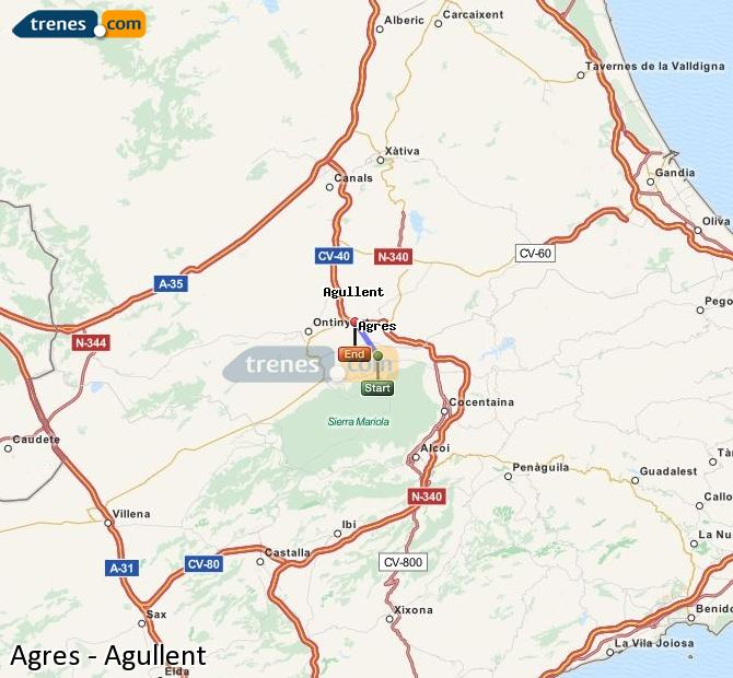 Enlarge map Trains Agres to Agullent