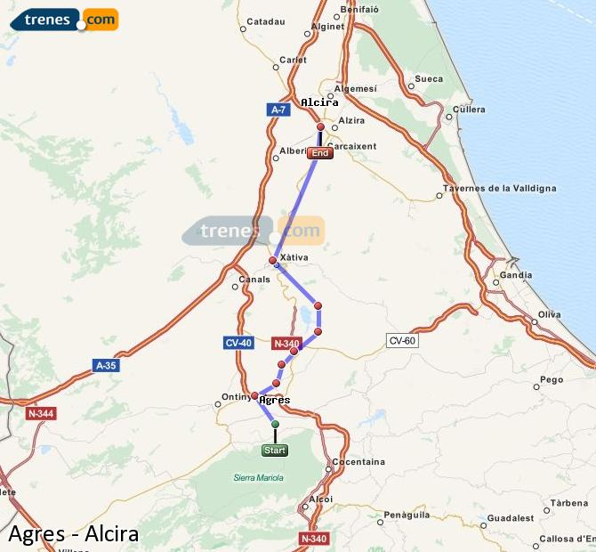 Enlarge map Trains Agres to Alcira
