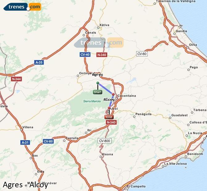 Ampliar mapa Trenes Agres Alcoy