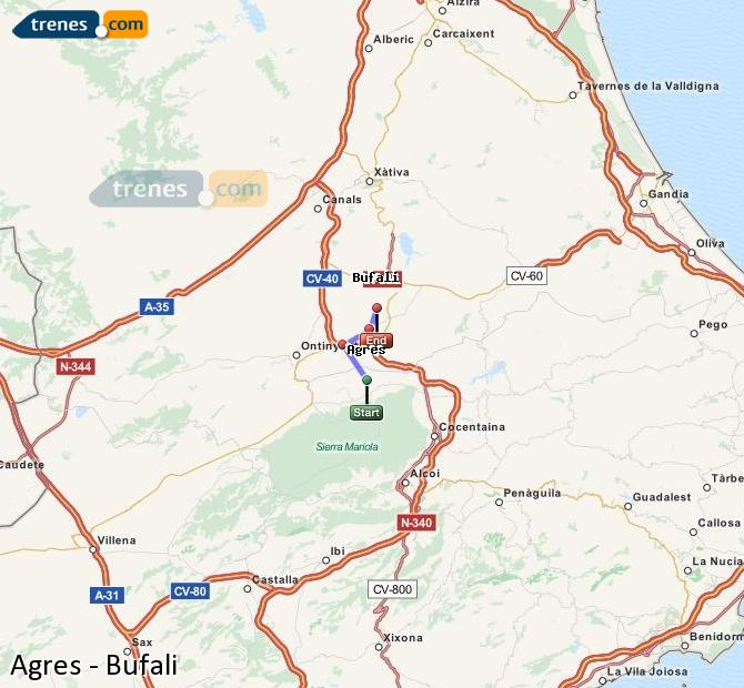 Enlarge map Trains Agres to Bufali