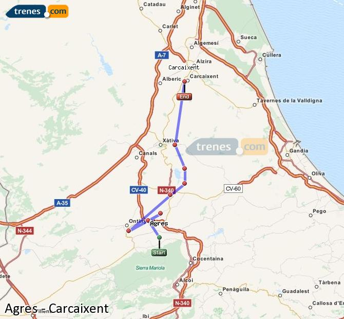 Enlarge map Trains Agres to Carcaixent