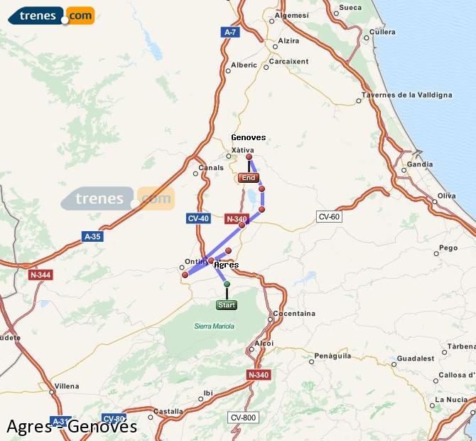 Enlarge map Trains Agres to Genovés