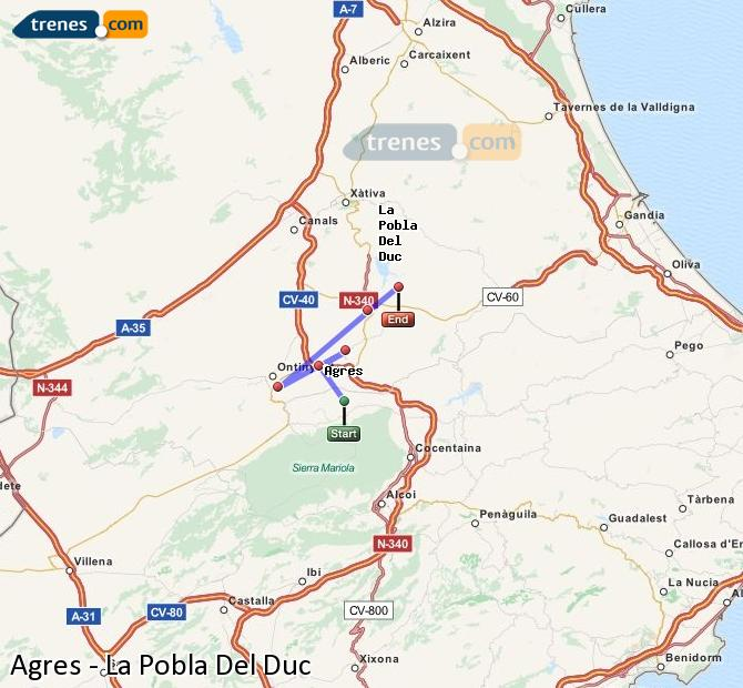 Enlarge map Trains Agres to La Pobla Del Duc