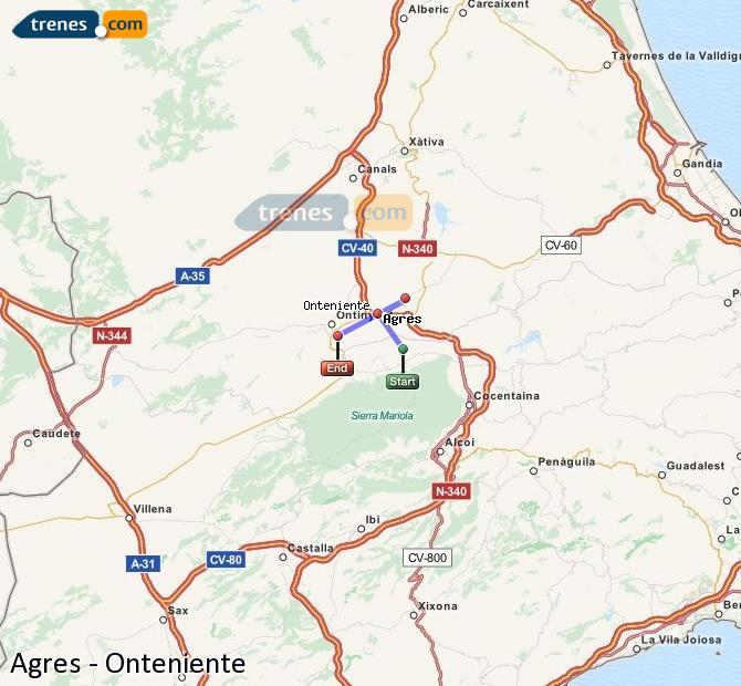Ampliar mapa Comboios Agres Onteniente