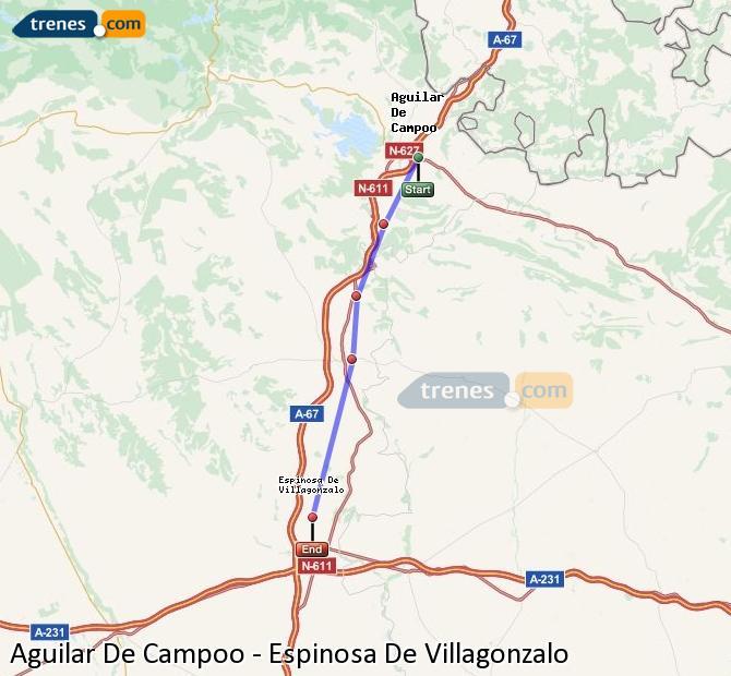 Enlarge map Trains Aguilar De Campoo to Spinosa De Villagonzalo