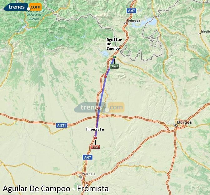 Karte vergrößern Züge Aguilar De Campoo Frómista