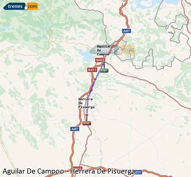 Enlarge map Trains Aguilar De Campoo to Herrera De Pisuerga