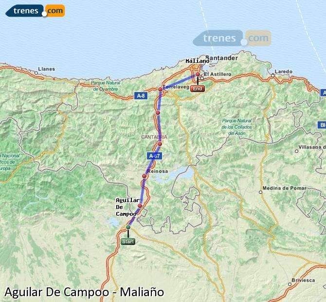 Enlarge map Trains Aguilar De Campoo to Maliaño