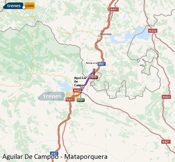 Enlarge map Trains Aguilar De Campoo to Mataporquera