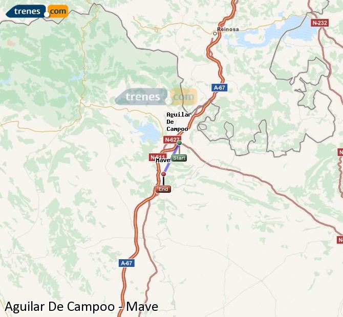Enlarge map Trains Aguilar De Campoo to Mave
