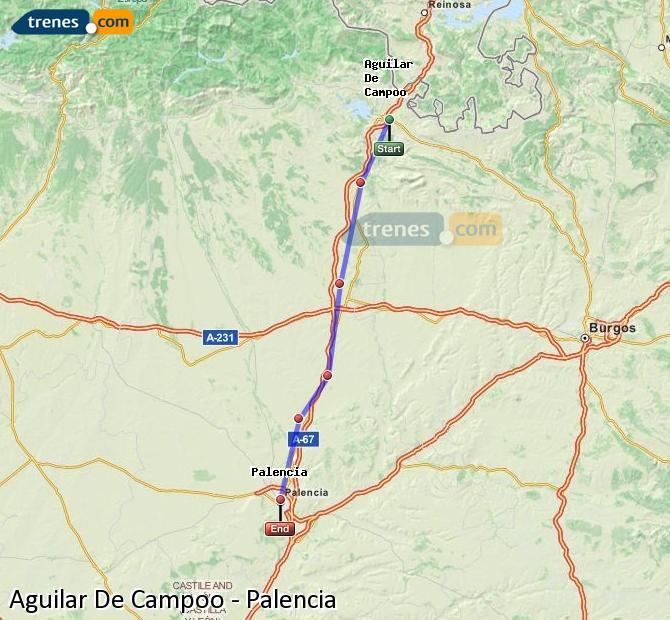 Enlarge map Trains Aguilar De Campoo to Palencia