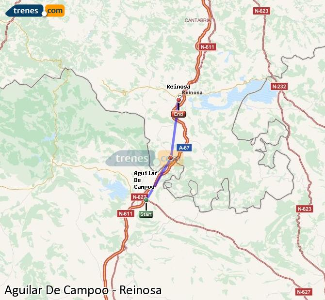 Enlarge map Trains Aguilar De Campoo to Reinosa