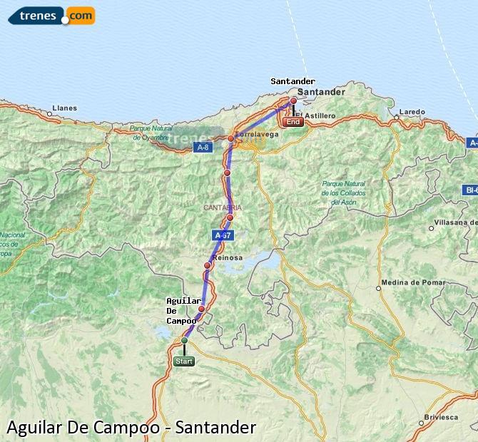 Ampliar mapa Trenes Aguilar De Campoo Santander