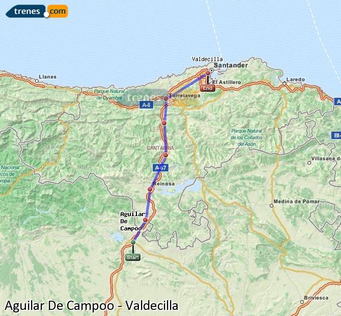 Agrandir la carte Trains Aguilar De Campoo Valdecilla