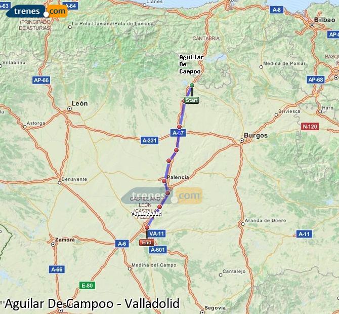 Ingrandisci la mappa Treni Aguilar De Campoo Valladolid