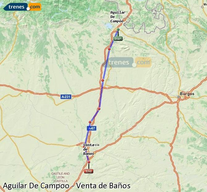 Karte vergrößern Züge Aguilar De Campoo Venta de Baños