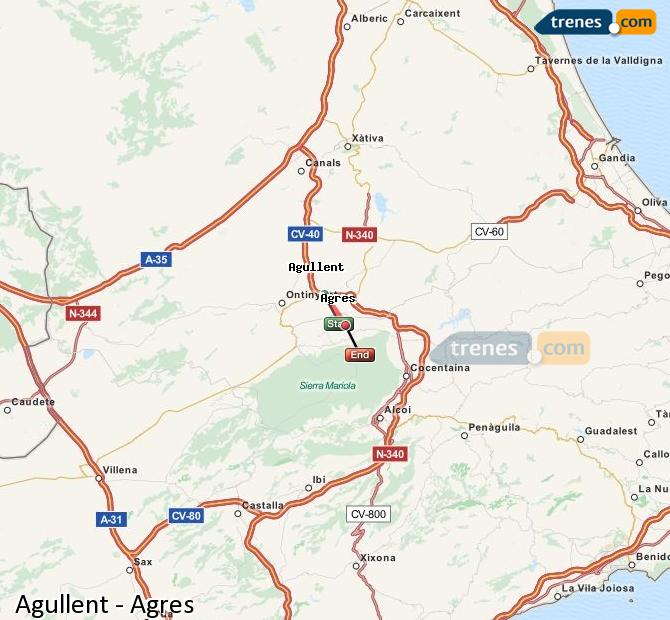 Enlarge map Trains Agullent to Agres