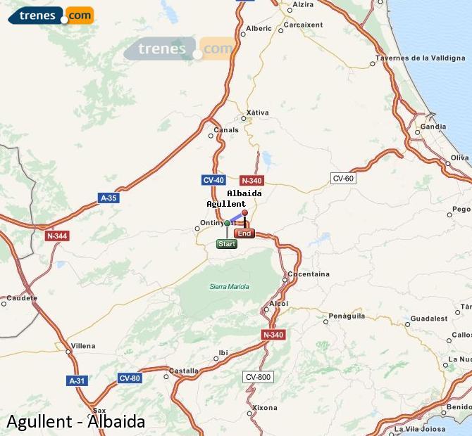 Ingrandisci la mappa Treni Agullent Albaida