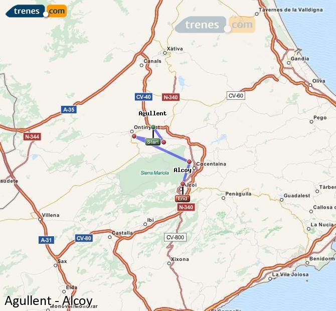 Karte vergrößern Züge Agullent Alcoy