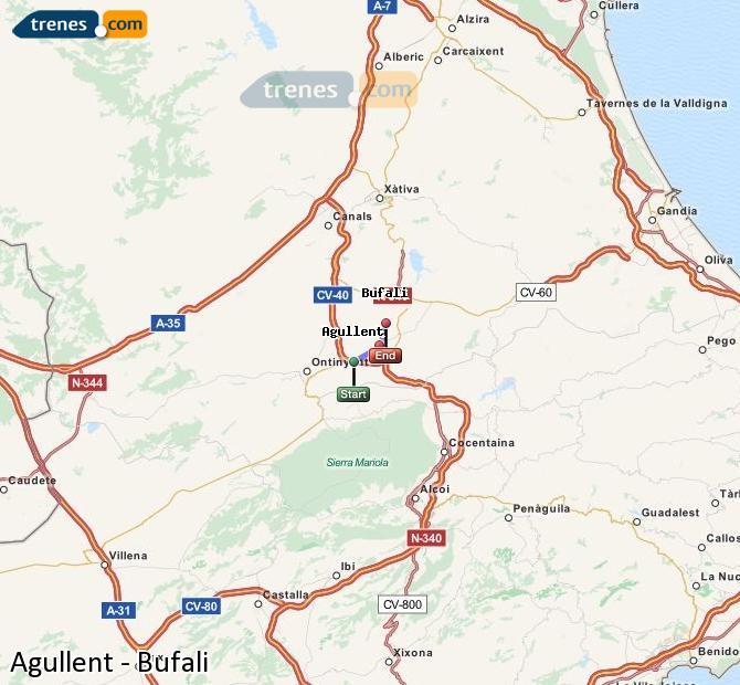 Ingrandisci la mappa Treni Agullent Bufali