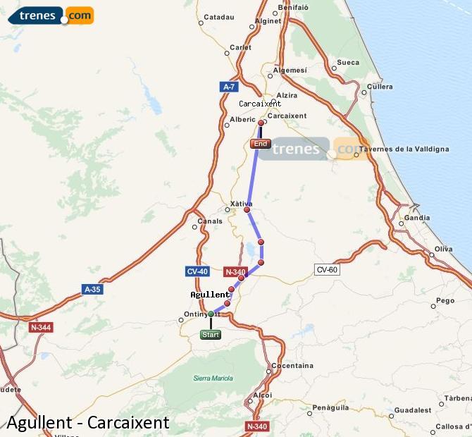 Ampliar mapa Trenes Agullent Carcaixent