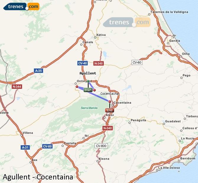 Karte vergrößern Züge Agullent Cocentaina